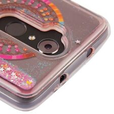 For ZTE MAX XL N9560 - Dream Catcher Pink Glitter Stars Liquid Water Case Cover