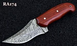 "9"" Custom Hand Made Damascus steel Hunting Skinner Knife With Fibber Wood."