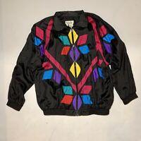 Vintage Slade Windbreaker Jacket Black Loud Geometric Nylon 80s 90s Retro Size M