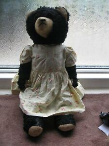 old teddy bear - German funfair bear -Black - Rare!!