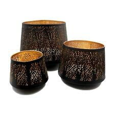 Large Set of 3 Table Top Black and Gold Filigree Candle Holders
