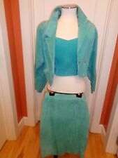 Vintage 1980's Suede Skirt, Bustier Top & Jacket - Complete Outfit by Chia
