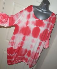 Womens🦋MADE IN ITALY🦋pink mix stretch pocket longline top tunic size 22/24