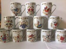 Mikasa '12 Days Of Christmas' Assorted 10-ounce Porcelain Mugs (Set of 12) NIB