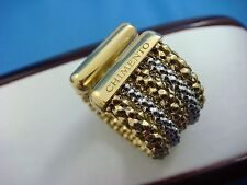 CHIMENTO STRETCH 18K TWO TONE GOLD WIDE FIVE ROW BAND RING, 11 GRAMS