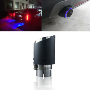 Auto Carbon Fiber Exhaust Tip Blue LED Light Car Muffler Pipe Frost Breath Look