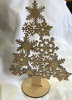 5 x snowflake christmas tree 250mm high with stand mdf wooden laser cut