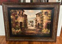 Large Vintage Framed Signed Original Oil on Canvas Painting - Village Landscape