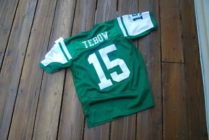 New York Jets Tim Tebow SEWN Youth large fits sizes 14/16 Reebok Jersey