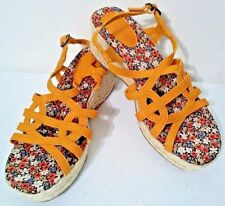 MUDD Wedge Sandal Yellow and Flowers Open Toe Girls 5 M