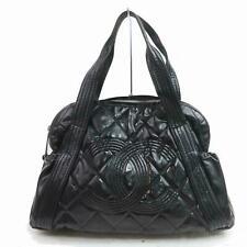 CHANEL - Vintage Classic Black Leather Quilted CC Logo Shoulder Bag Purse