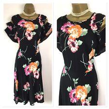 Vestido De Verano Dorothy Perkins Tamaño 20 Negro Multicolor en frío hombro de ajuste de la llamarada