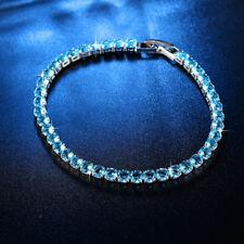 "Percious Aquamarine Silver for Women Jewelry Gems Chain Bracelet 7 5/8"" NS2136"