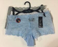 Rene Rofe Set Of 3 Lace Sheer Boyshorts NWT Size Small Blue White Gray