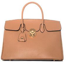 B-WARE / ROUVEN Make Up Camel Braun & Gold JANE 40 Tote Bag Leder Tasche Blogger