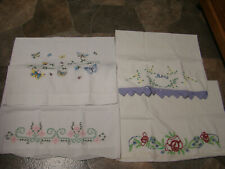 4* Vintage -Hand Embroidered Pillow Cases* All Singles*