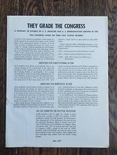 THEY GRADE THE CONGRESS - Summary of members serving in the 90th Congress, 1967