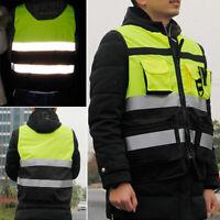 Hi Vis Safety Vest Workwear Reflective Tape Work Jacket High Visibility Overcoat