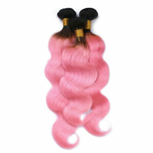 3BUNDLES REAL PERUVIAN OMBRE BODY WAVES HAIR 2TONES 1b#/PINK 300g 12A FAST SHIP