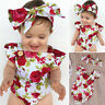 2pcs Flower Newborn Baby Girls Jumpsuit Romper Bodysuit+ Headband Outfits Set