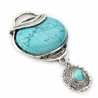 "Tibetan Silver Flower Oval Blue Turquoise Gemstone Pendant Bead 2x1.7"" HOT HY"