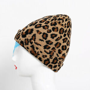 Soft Beanie Hat with Leopard Pattern Winter Knitted Warm Cap for Women OK