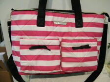 BETSEY JOHNSON QUILTED RED, WHITE STRIPE  XL TOTE BAG LOGO LINING