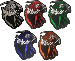 """Large Hooded Grim Reaper Patch Biker Jacket Vest Iron/Sew On Skull Patch 14""""x11"""""""