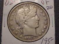 1902-S  VF   Barber Half Dollar Rare Date  Full Liberty  #1