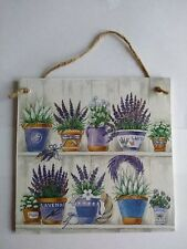 Gorgeous lavender herb pots Wall Picture PLAQUE - HAND MADE / DECOUPAGE / WOODEN