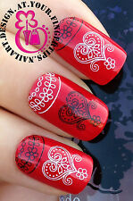 NAIL ART WRAP WATER TRANSFER DECALS STICKERS BLACK WHITE LACE HEARTS FLOWERS #85