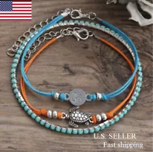 3PCS Set Boho Sea Turtle Turquoise Beads Anklet Beach Foot Sandal Ankle Bracelet