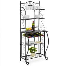 5-Tier Black Storage Metal Microwave Oven Bakers Rack Kitchen Dining room Shelf