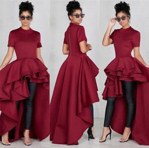 Women's Short Sleeve High Low Peplum Dress Cocktail Party Club Elegant  Dress