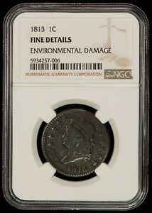 1813 1c Classic Head Large Cent - Original Look - NGC Fine Details - SKU-Z1290