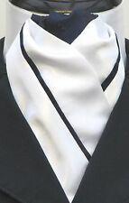 Ready Tied Brilliant White & Navy Blue Faux Silk Dressage Riding Stock - Show