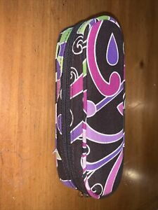 Vera Bradley Black Pink Purple Swirls Zippered EyeGlass Clamshell Case EUC