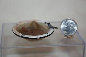 Miniature Dollhouse Primitive Aged Enamel Tub Birdbath w Stones & TINY Bird 1:12