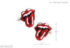 SUPER SILVER RED LIPS & MOUTH CUFFLINKS  VELVET POUCH JAGGER STONES  GIFT IDEA