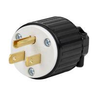 NEMA LK7515P 5-15P Grounding Locking Plug, 15A 125V AC, 2 Pole 3 Wire Bend
