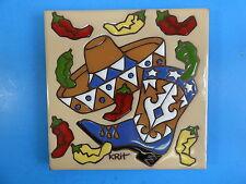 """Ceramic Art Tile 6""""x6"""" Chili pepper trivet wall southwestern New western G96"""