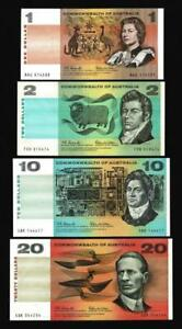 1966 $1,$2,$10,$20 DECIMAL PAPER BANKNOTES..1ST ISSUE..COOMBS/WILSON..LOVELY SET