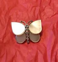 Estate Vintage Signed MONET Mother-of-Pearl & Rhinestone Butterfly Pin or Brooch