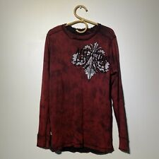 Large Mens Affliction Reversible Long Sleeve Distressed Thermal Top