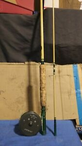 Vintage Hardy L.R.H. Lightweight Fly Reel AND 8 FT FLY ROD VERY CLEAN