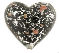 Murano/Venetian Glass Heart Pendant Copper/Silver Foil Black 30mm *UK Bead Shop*