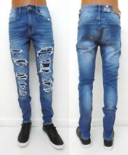 Men's JORDAN CRAIG Black Blue Shredded Ripped Skinny Slim Sean Jeans JM3139