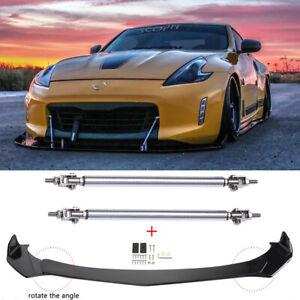 For Nissan 370Z 350Z Coupe Front Bumper Lip Splitter Spoiler Gloss + Strut Rods