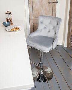 Breakfast Bar Stool Velvet Dining Chair Kitchen Chrome Gas Lift Light Grey