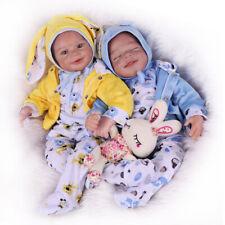 22'' Reborn Baby Dolls Twins Boy Girl Vinyl Silicone Newborn Girl Doll Xmas Gift